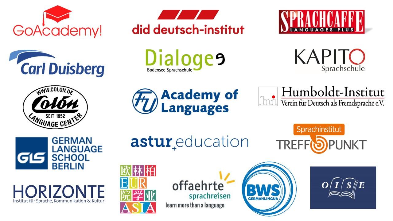 Logos aller Sprachschulen, die den Rettungsschirm für Sprachreisende aufspannen
